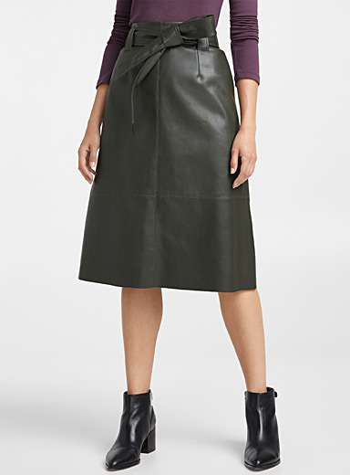 Faux-leather tie-belt skirt