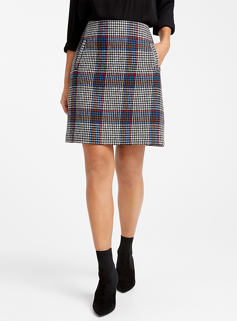 Colourful houndstooth skirt - Short - Patterned Blue