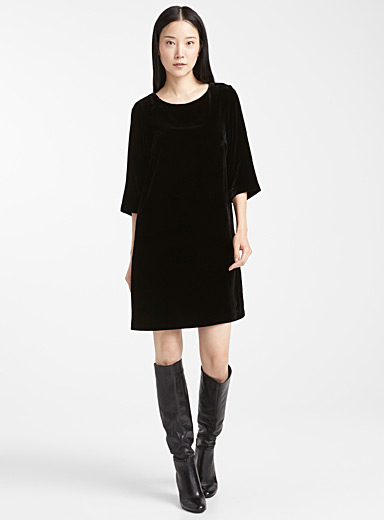 Silky velvet shift dress