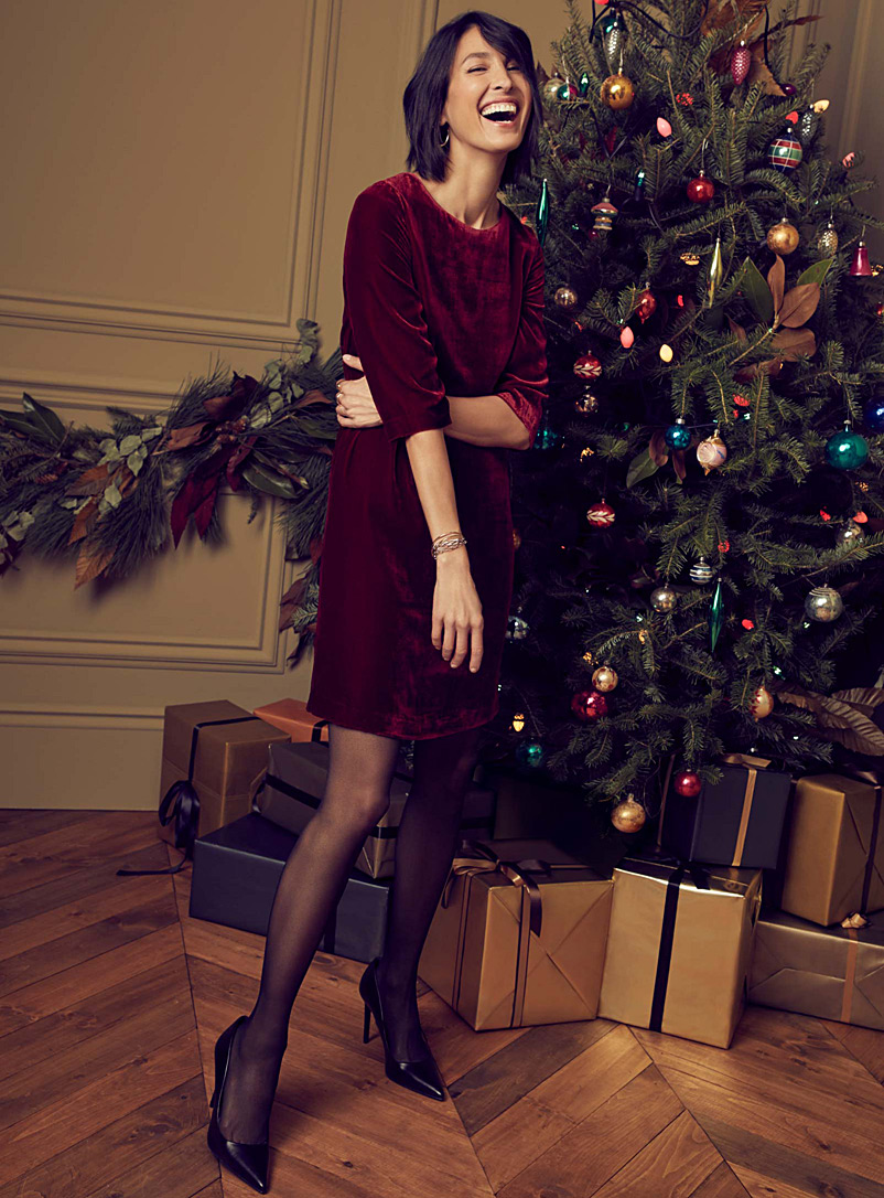 Silky velvet shift dress - Straight - Red