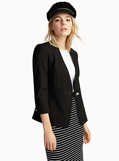 Collarless structured jersey blazer