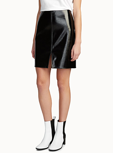 Galaxy faux-leather skirt