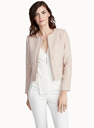 Textured weave crew-neck jacket