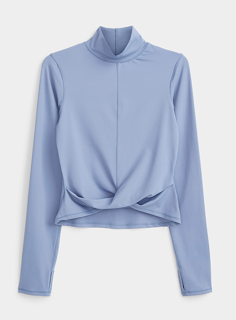 I.FIV5 Slate Blue Twisted high-neck top for women