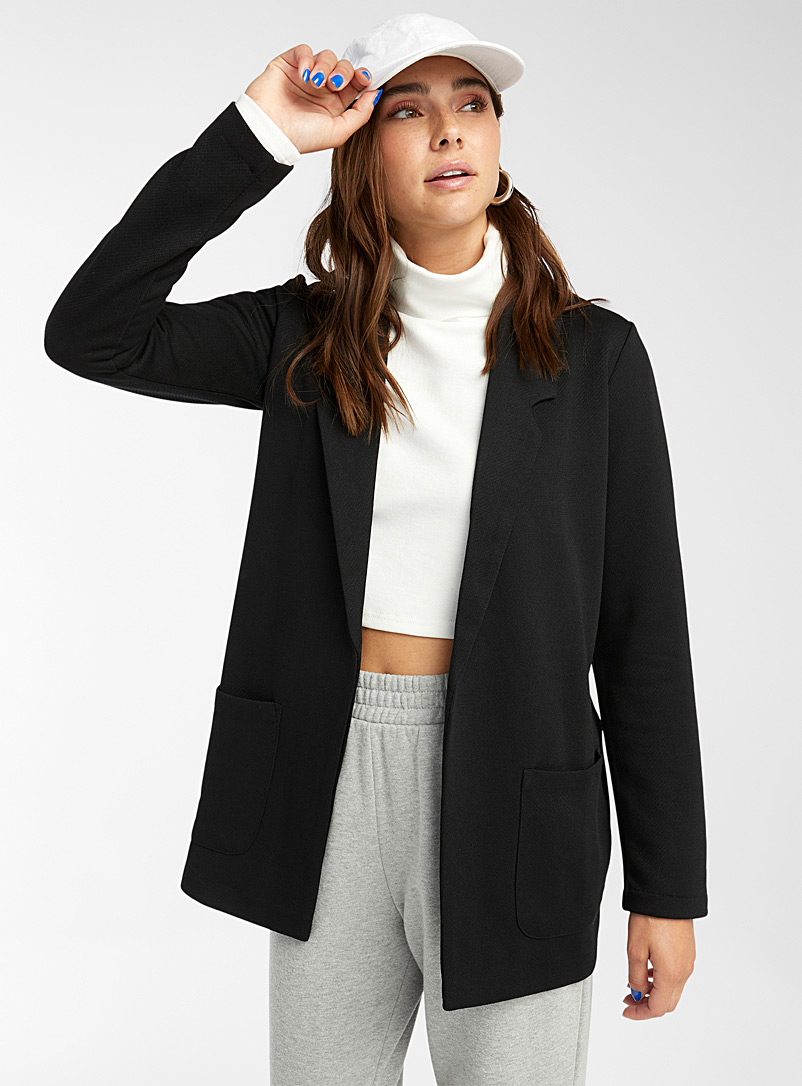 Twik Black Loose tuxedo jacket for women