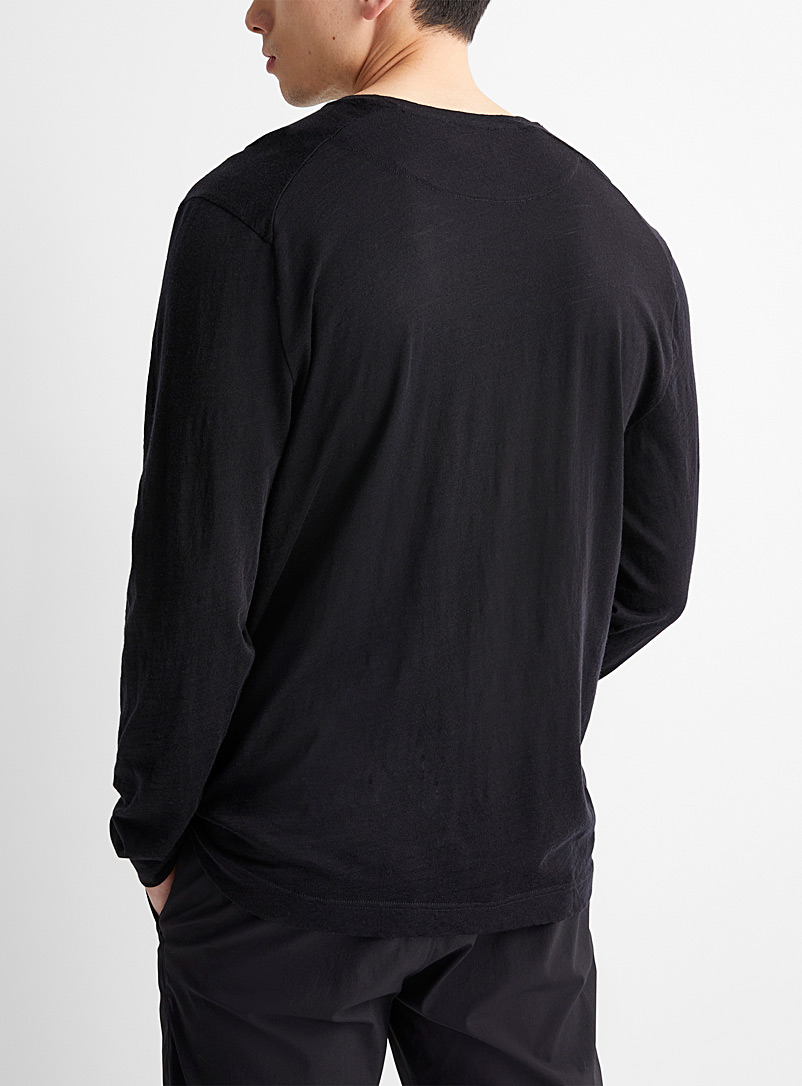 Le 31 Black Pure merino wool T-shirt for men