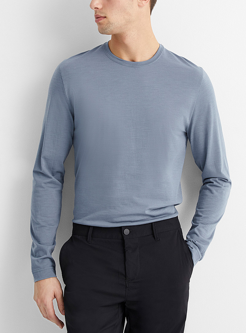 Le 31 Slate Blue Pure merino wool T-shirt for men
