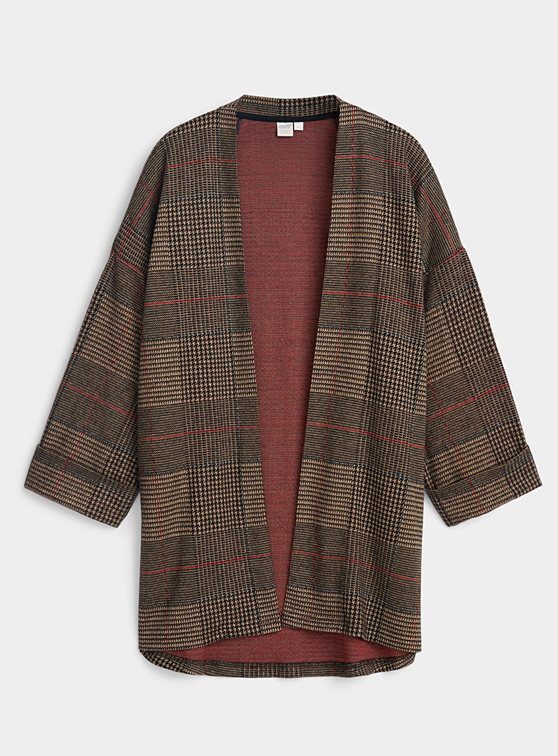 Twik Brown Check-print cardigan for women