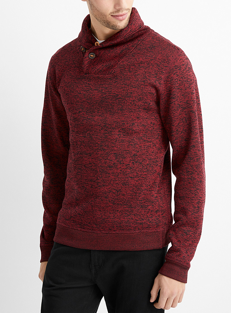 Le 31 Ruby Red Shawl collar knit sweatshirt for men