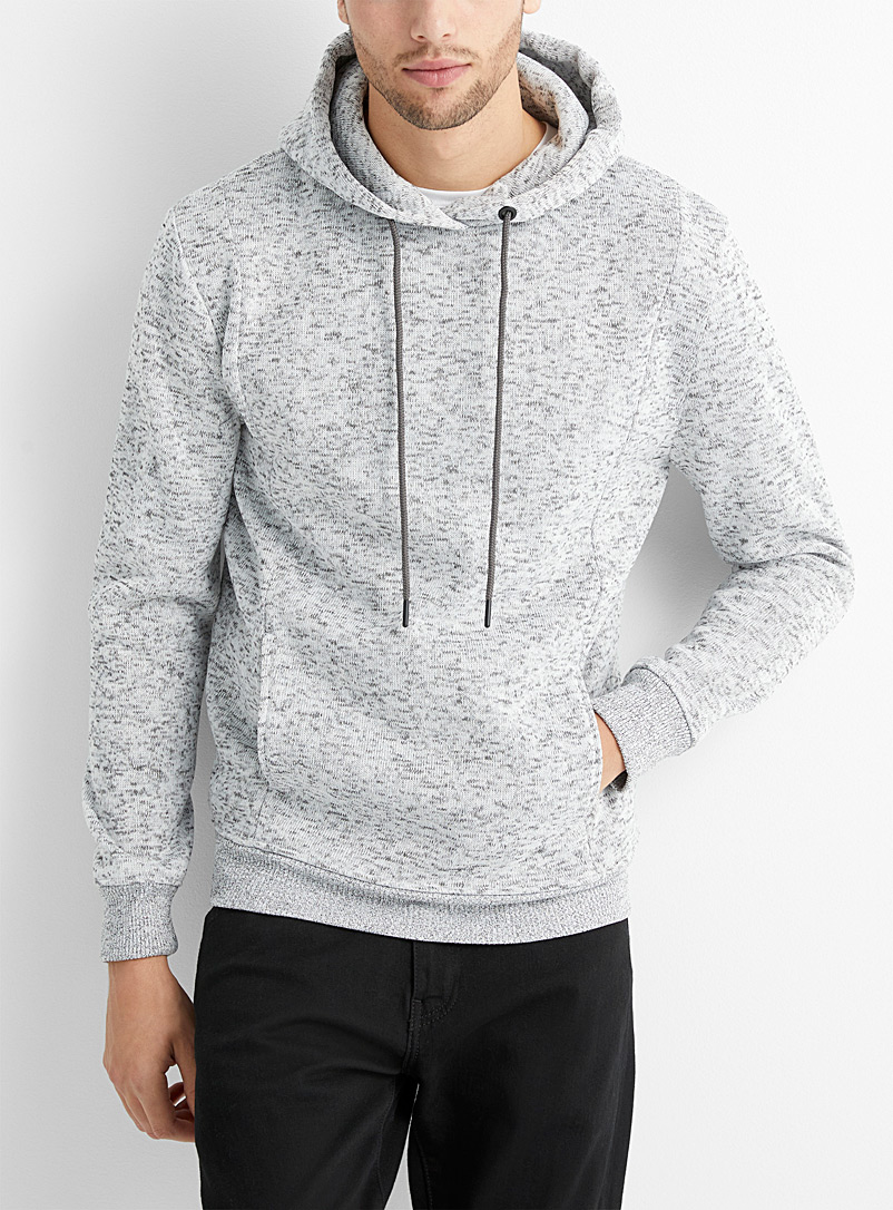 Le 31 Light Grey Patterned knit hoodie for men