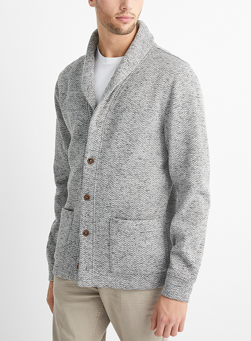 Le 31 Grey Heathered sweatshirt knit cardigan for men