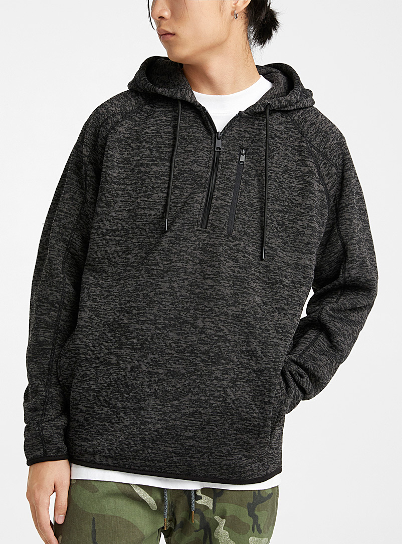 Djab Charcoal Recycled polyester hooded sweatshirt for men