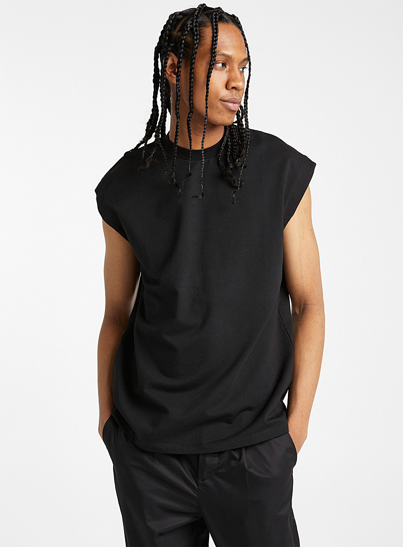 Le 31 Black Loose muscle tee for men