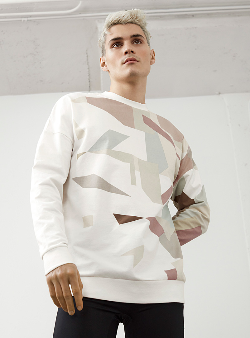 Le 31 White Abstract vision sweatshirt for men