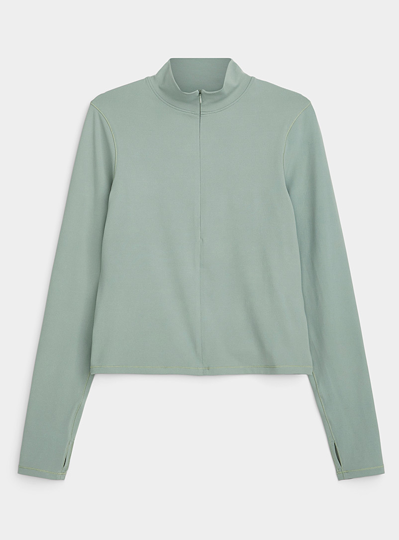 I.FIV5 Mossy Green Zip mock-neck fitted top for women