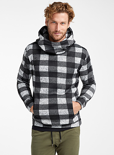 Patterned knit hoodie