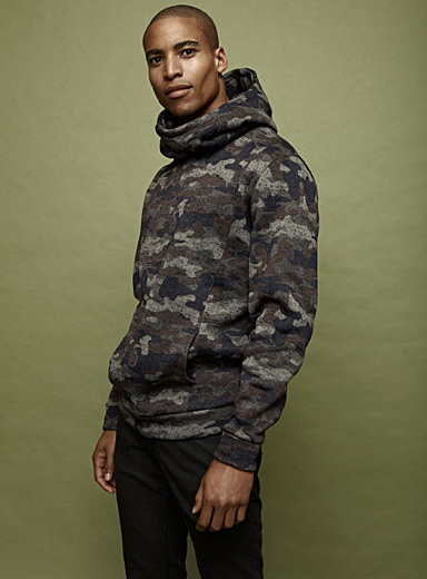 Patterned recycled knit hoodie