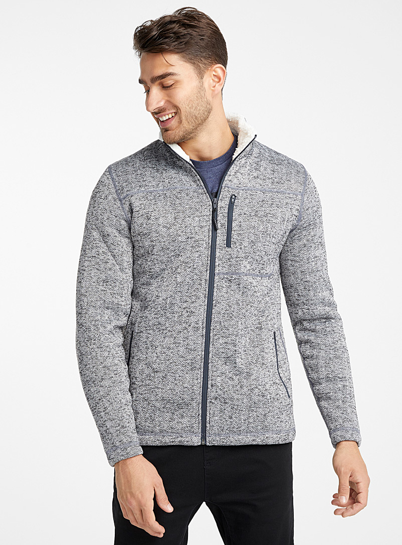 Sherpa-lined recycled polyester cardigan - Sweatshirts & Hoodies - Patterned Grey