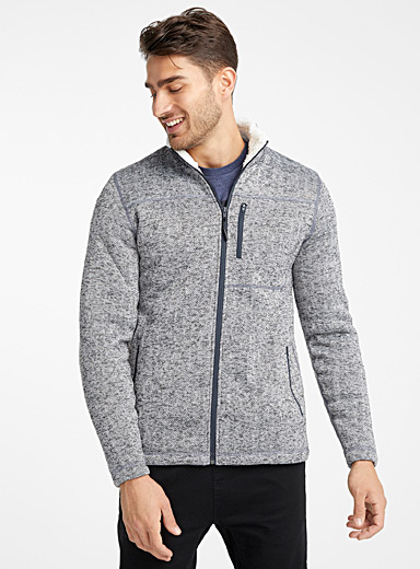 Sherpa-lined recycled polyester cardigan
