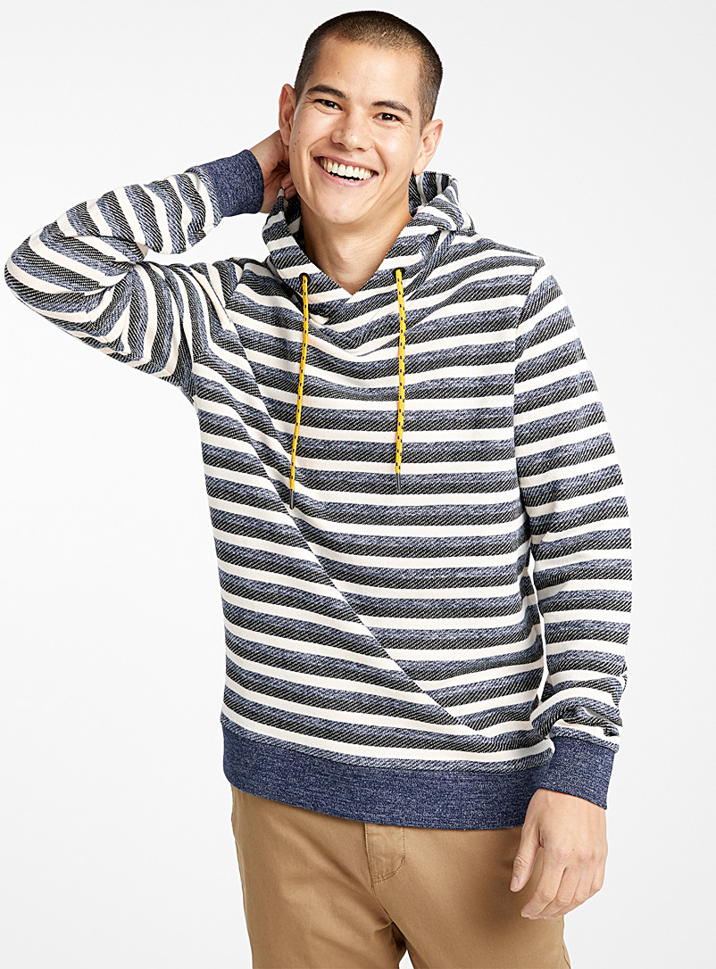 Le 31 Blue Jacquard stripe hoodie for men