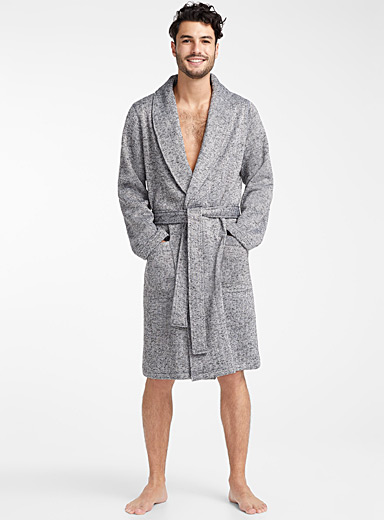 Multi-tone knit recycled polyester robe