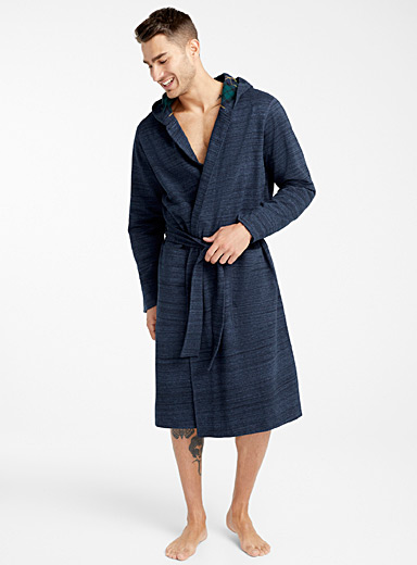 Heathered tartan-lined organic cotton robe