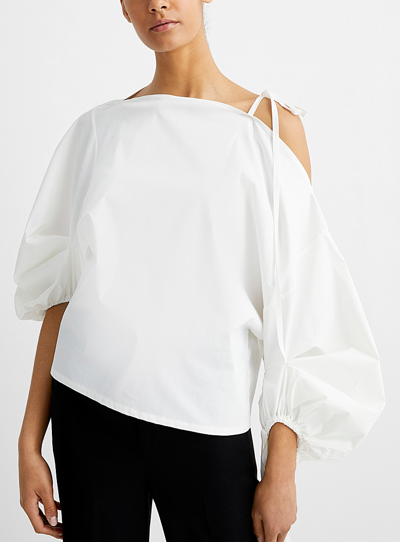 UNTTLD White Balloon-sleeve poplin blouse for women