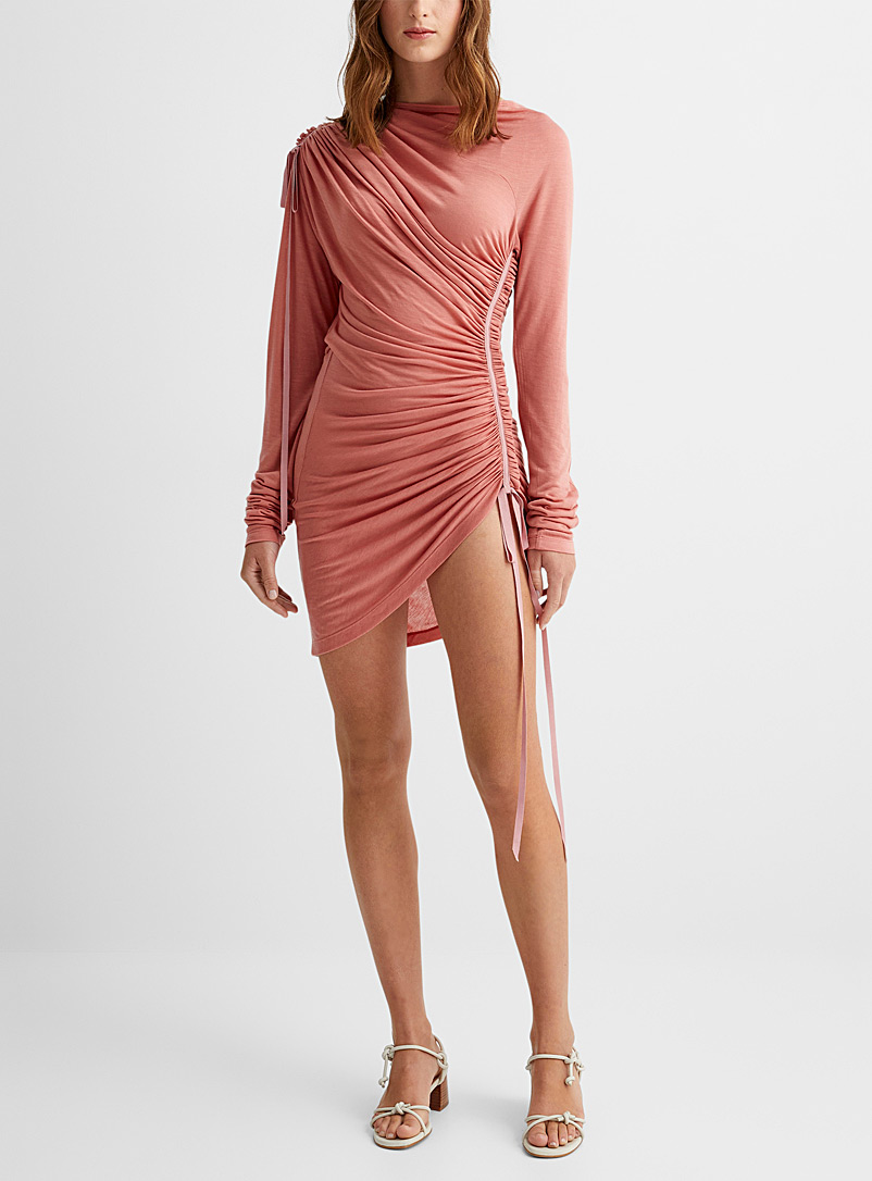 UNTTLD Sand Asymmetrical ruched ribbons dress for women