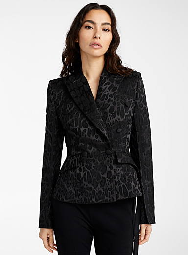 UNTTLD Black Leopard jacquard peplum jacket for women
