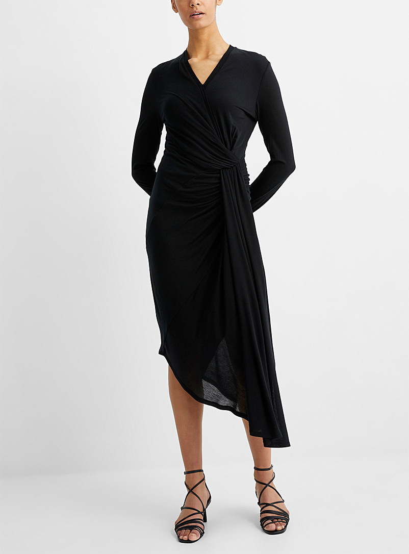 UNTTLD Black Faux-knot draped dress for women