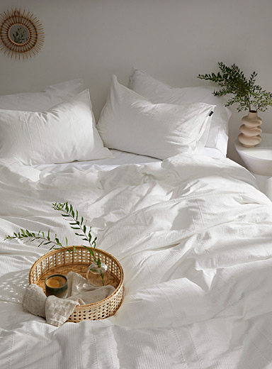 Vandyck Ivory White Refined texture duvet cover set