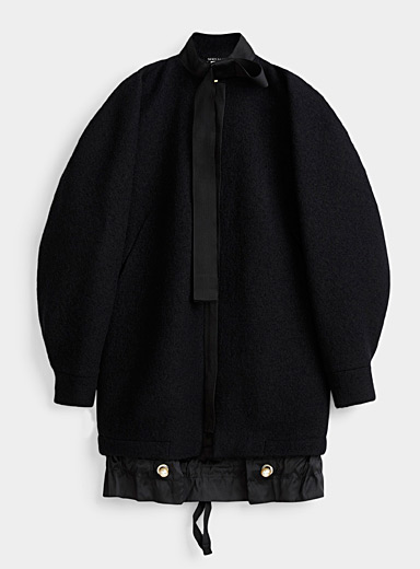 Denis Gagnon Black Pearl button wool cocoon coat for women