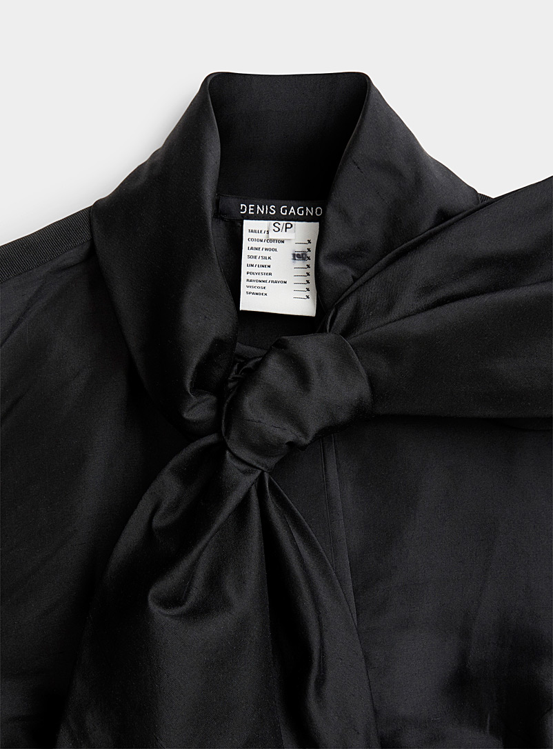 Denis Gagnon Black Long ribbon silk shirt for women