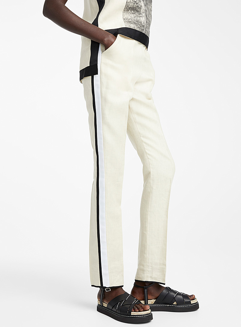 Denis Gagnon Cream Beige Athletic-stripe linen pant for women