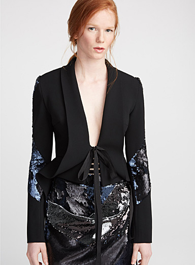 Sequin-sleeve tie jacket