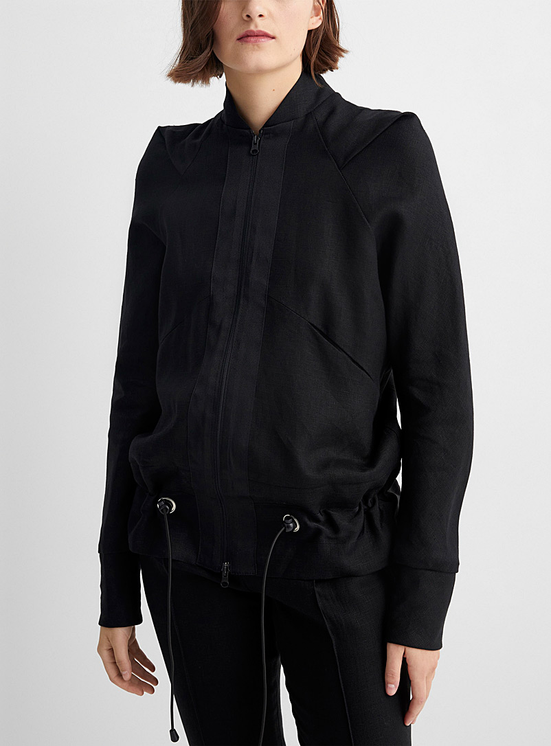 Denis Gagnon Black Pure linen bomber for women