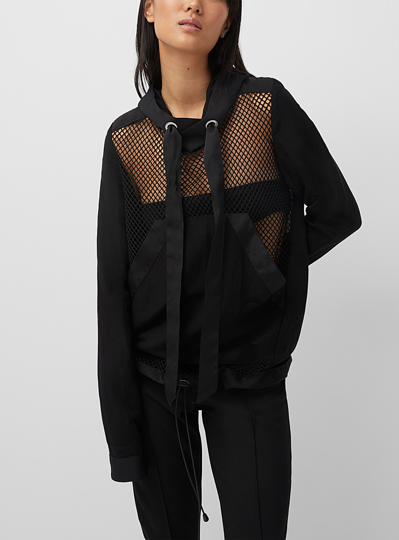 Denis Gagnon Black Mesh and linen hoodie for women