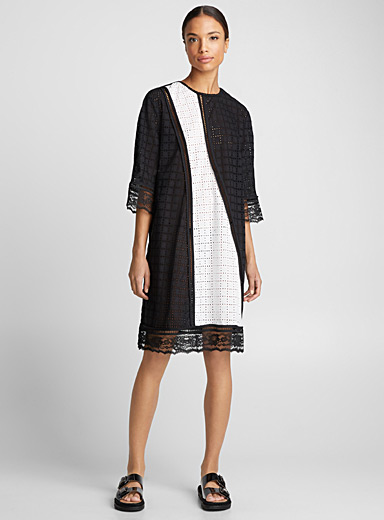 Contrasting broderie anglaise dress