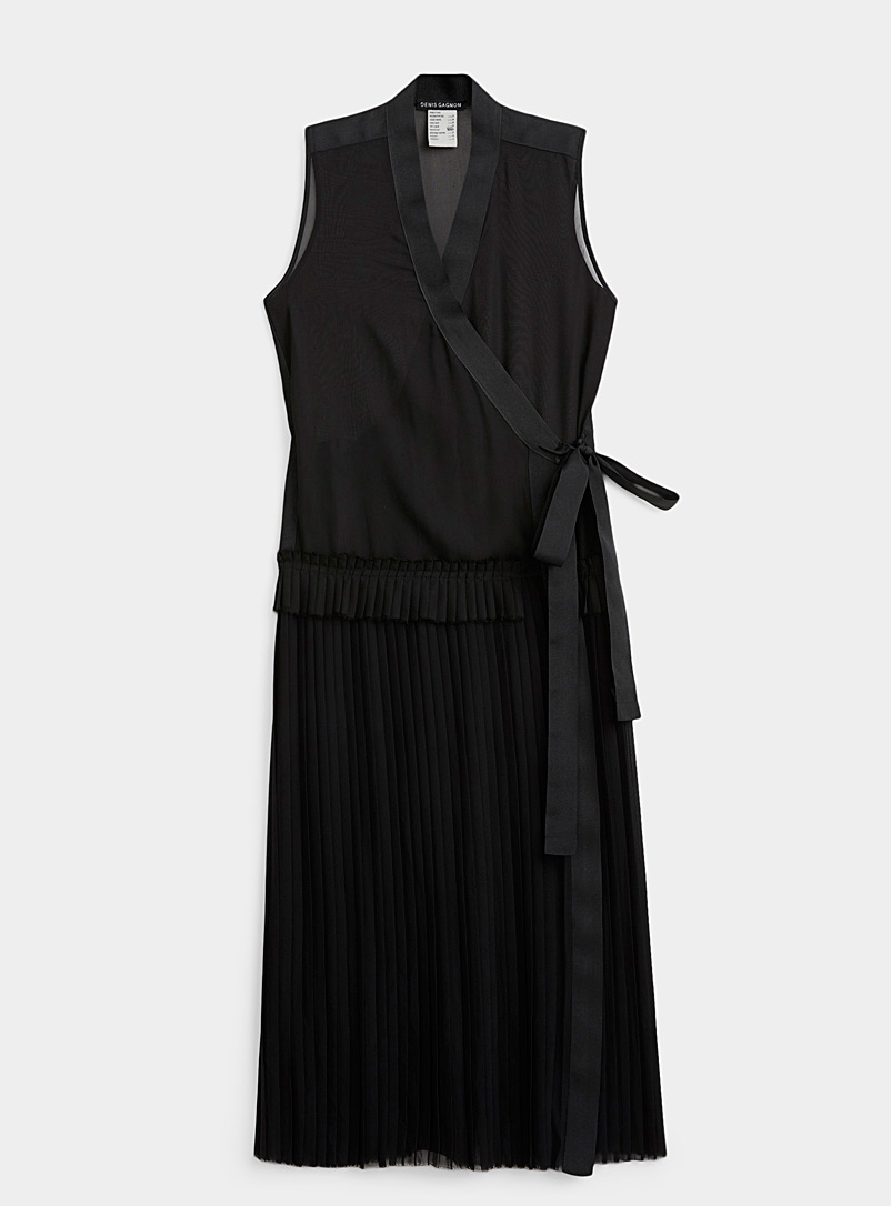 Denis Gagnon Black Pleated wrap dress for women