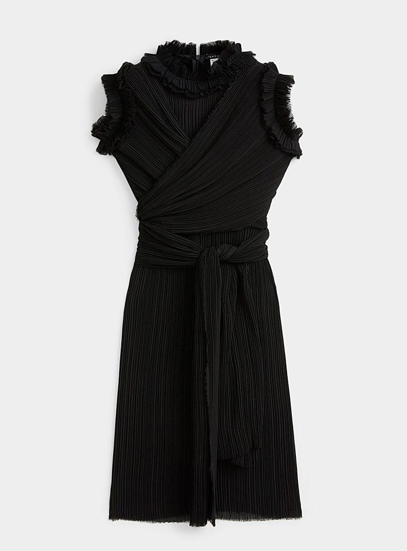 Denis Gagnon Black Crossover pleated dress for women