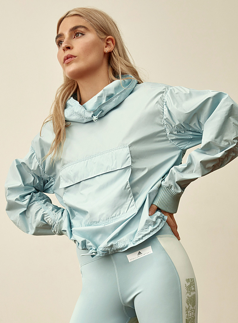 Adidas Stella McCartney Baby Blue Recycled polyester perforated knit back anorak for women