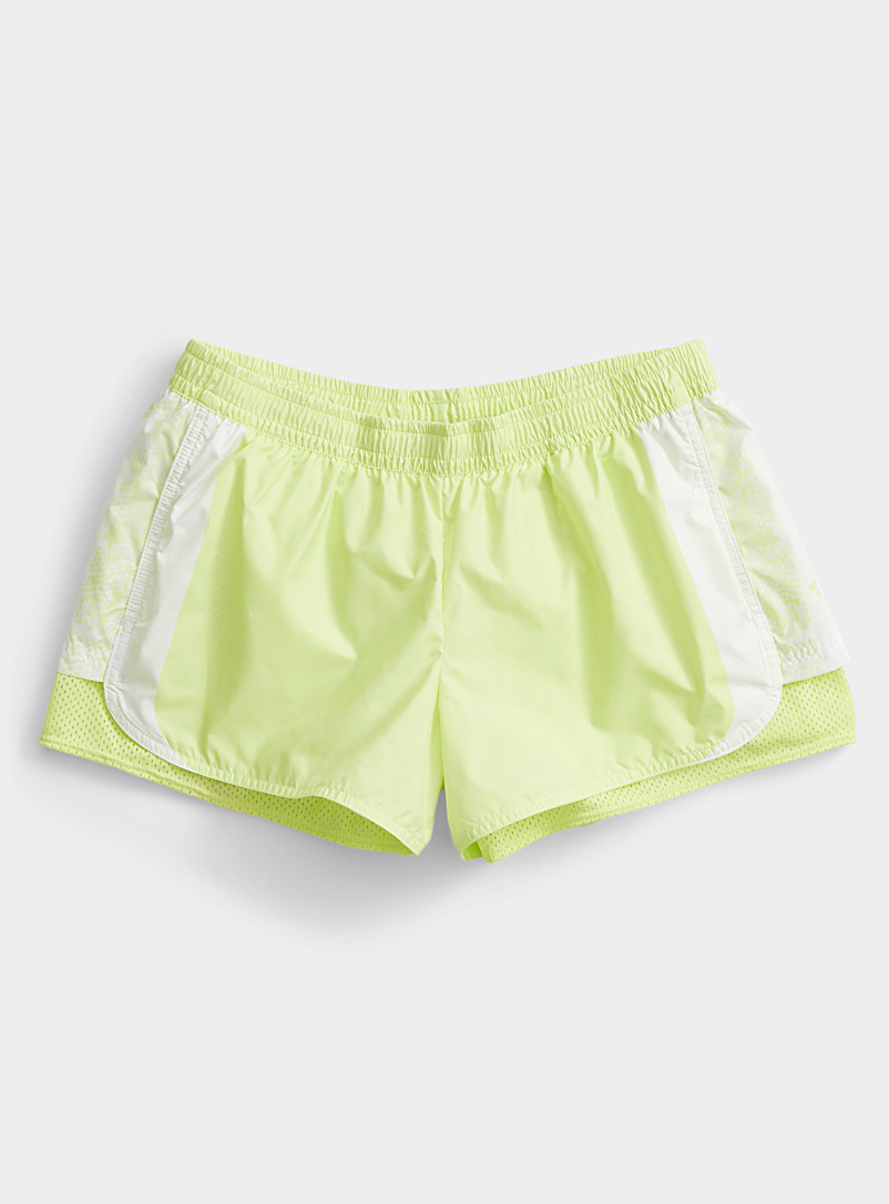 Adidas Stella McCartney Bright Yellow Recycled polyester 2-in-1 lime short for women