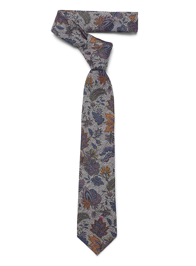 Floral chambray tie - Regular Ties - Mauve