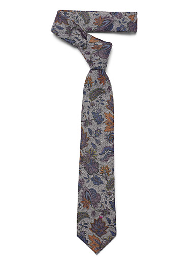 Floral chambray tie