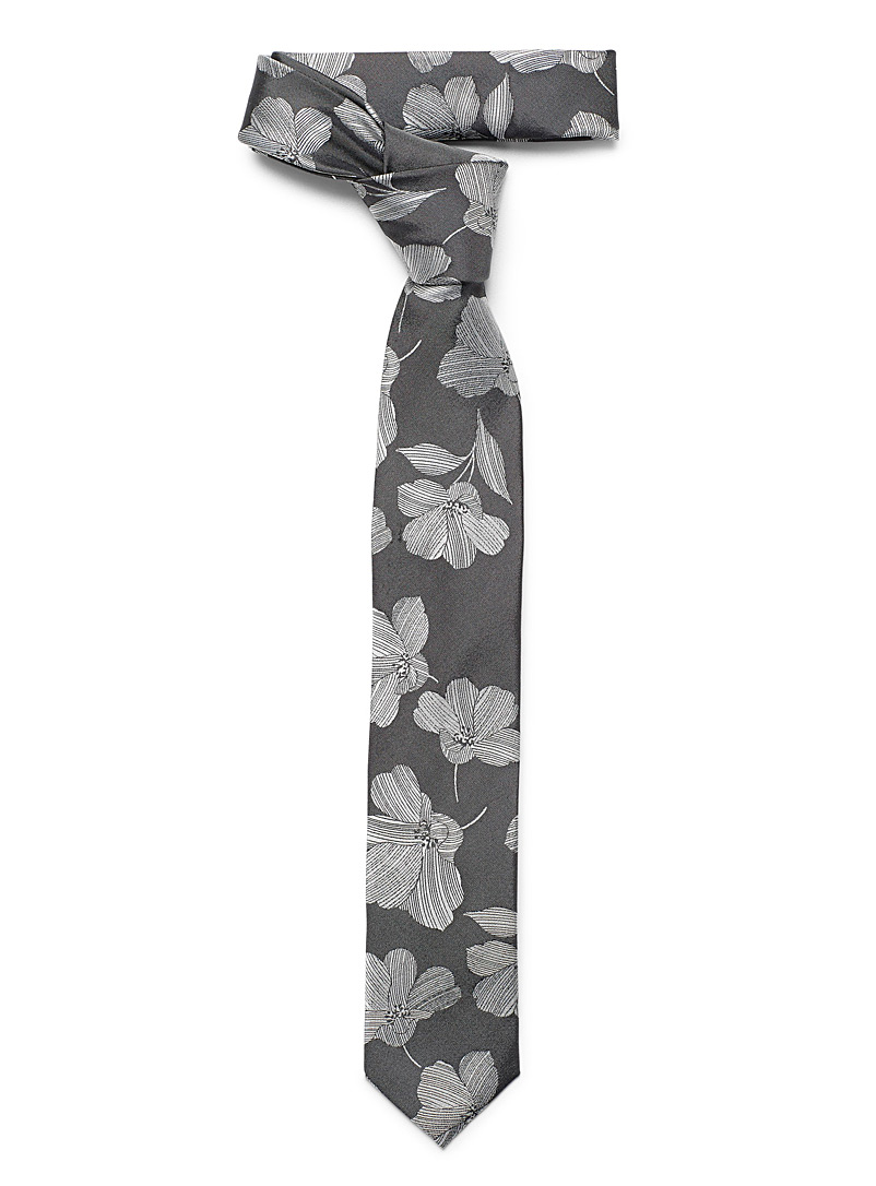 Le 31 Grey Etched flower tie for men