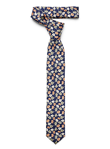 Le 31 Marine Blue Sketched flowers tie for men