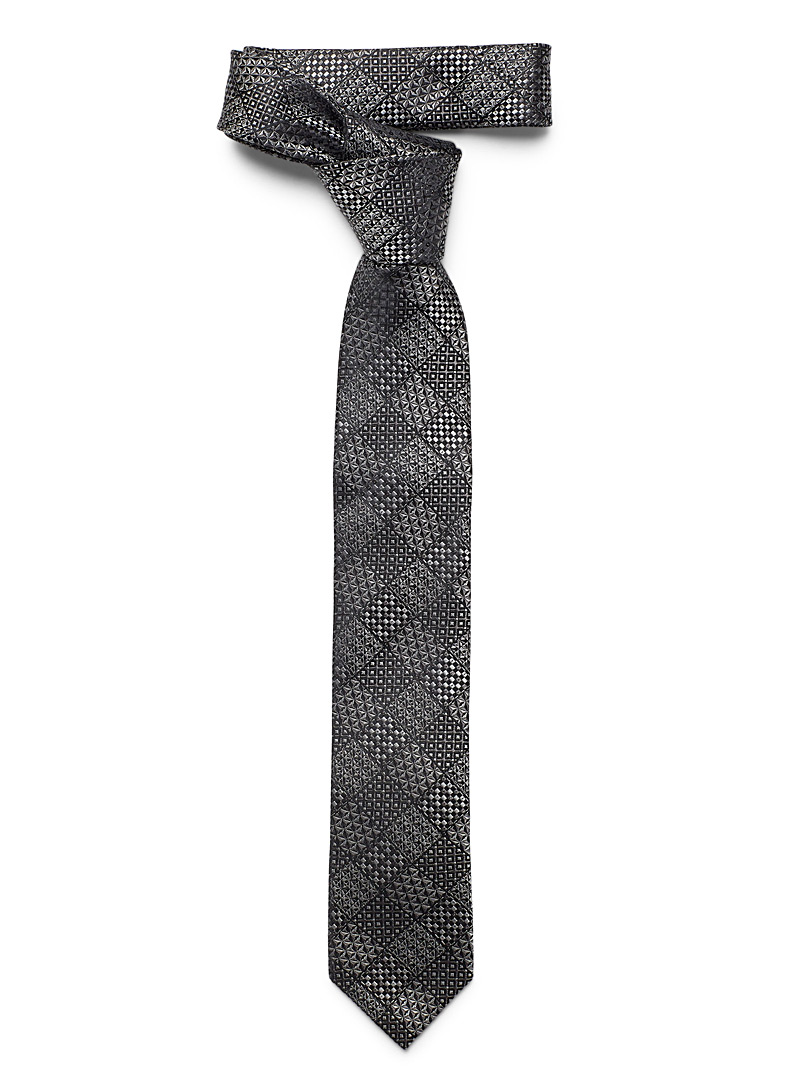 Le 31 Black Geo check tie for men