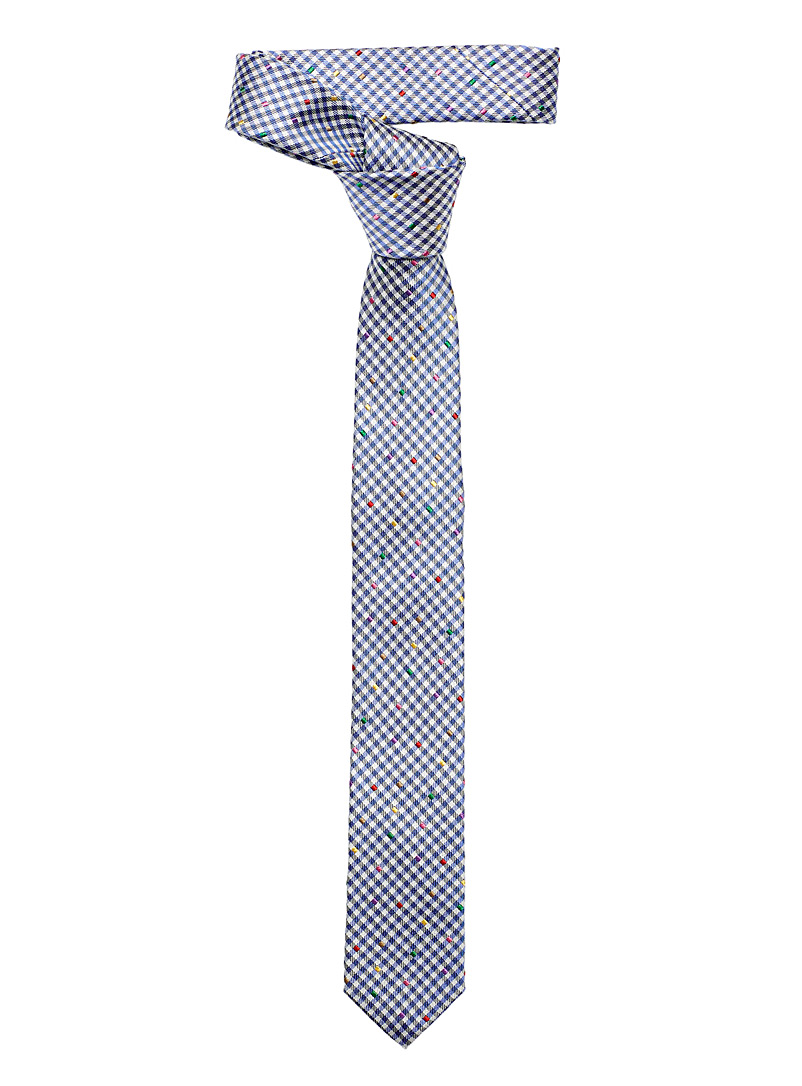 Le 31 Blue Pop accent gingham tie for men