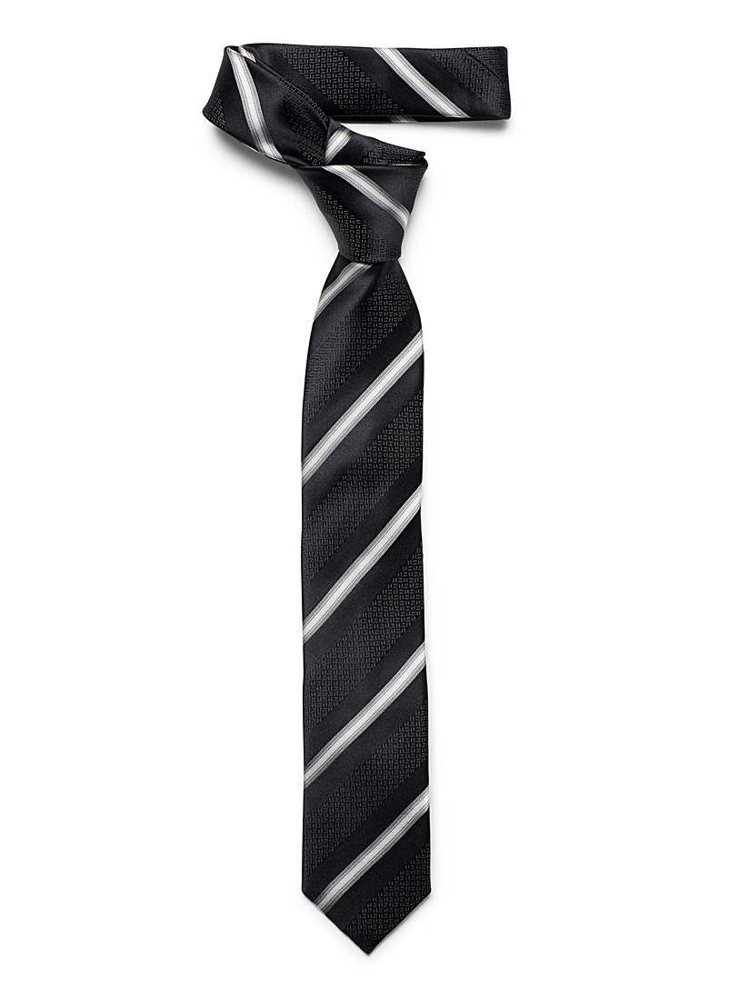 Le 31 Black Modern stripe tie for men