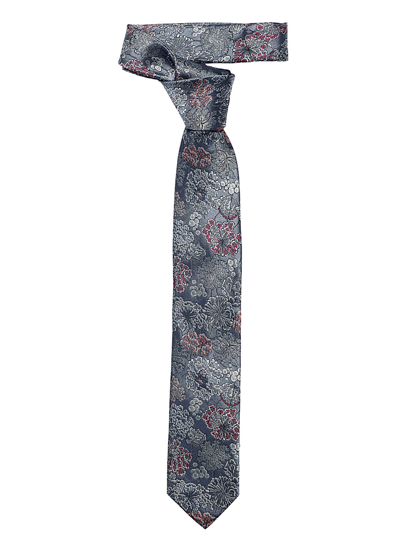 Le 31 Blue Moiré bouquet tie for men